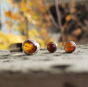 Amber Ring and Earrings Sterling Silver Vintage